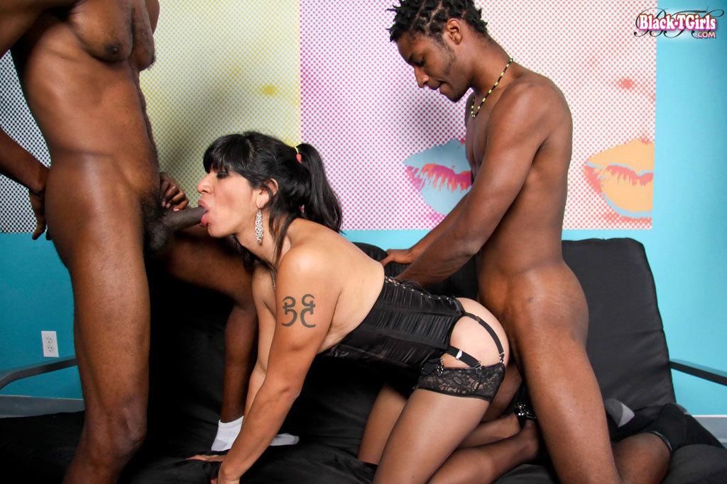 Black T-Girl Gang Banged!
