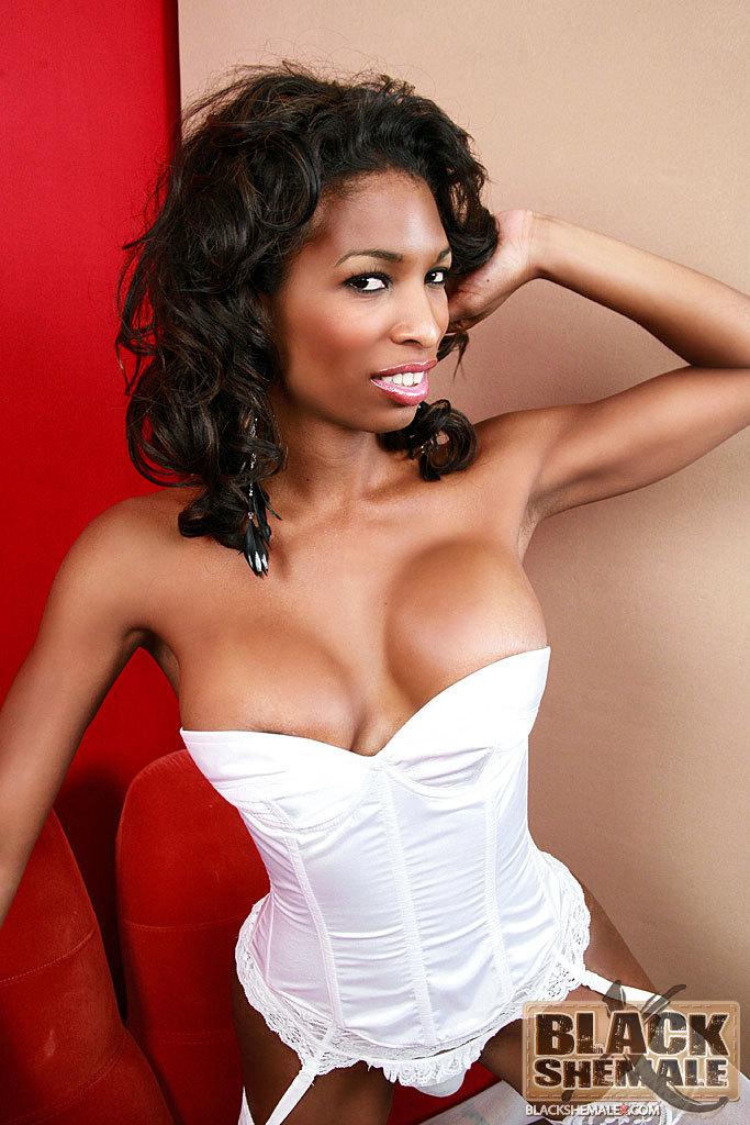 Black TS Natassia Dream In Flirtatious White Panties