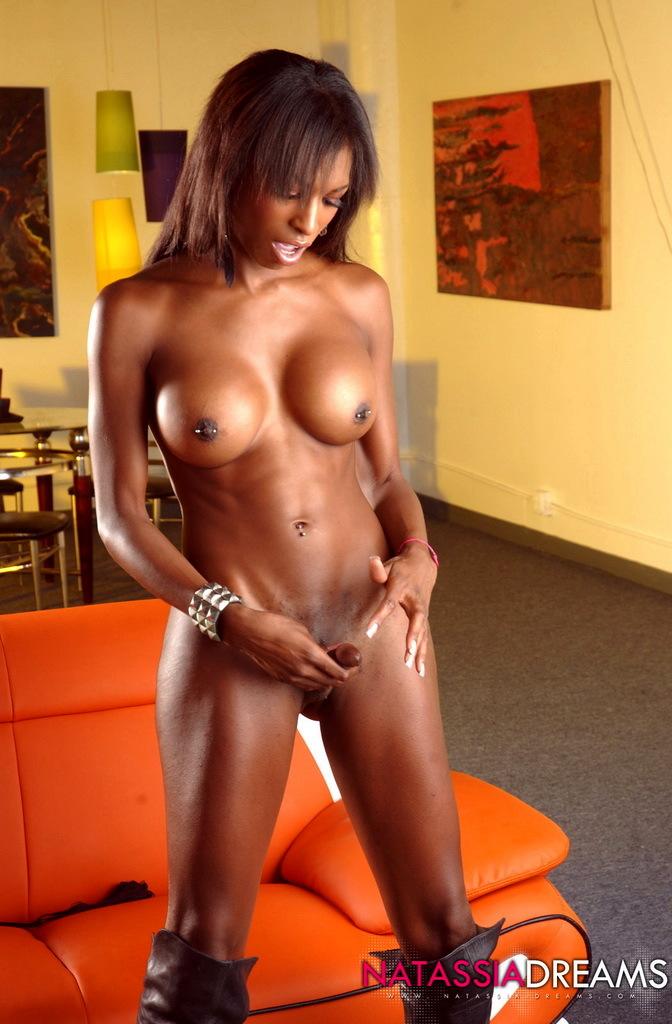 Chocolate Natassia Posing In Her Seductive Brown Skirt