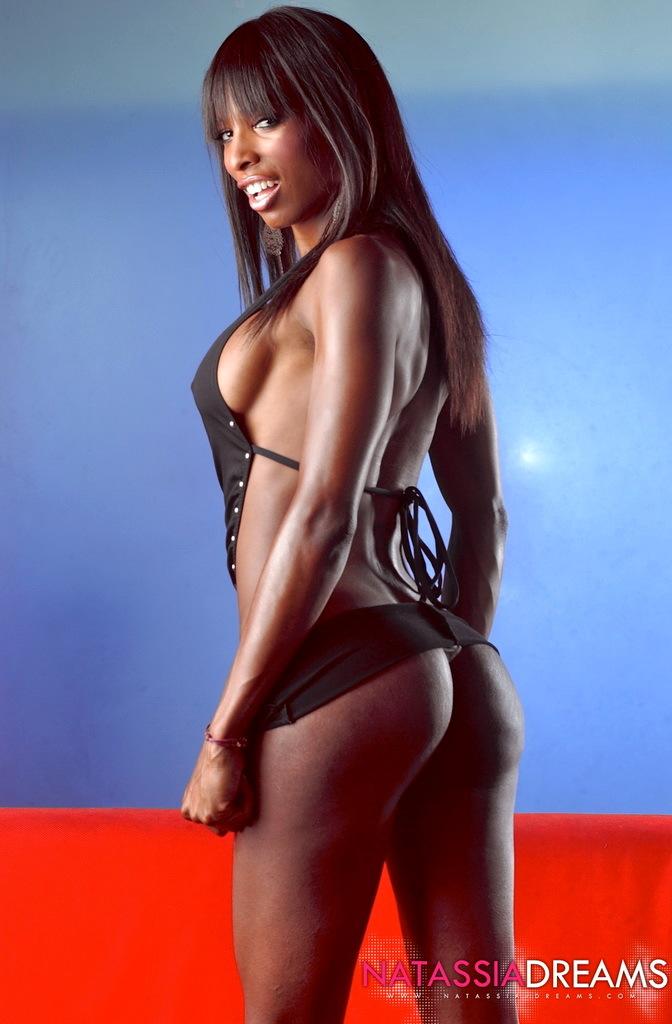 Ebony Femboy Natassia Fantasies Posing In Black Sensual Skirt