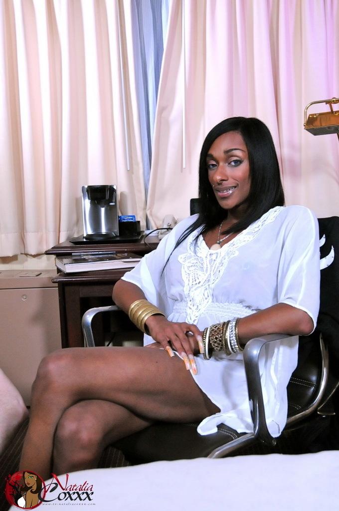 Ebony Ladyboy Natalia Coxxx Giving A Blowjob To Her Slave Boy