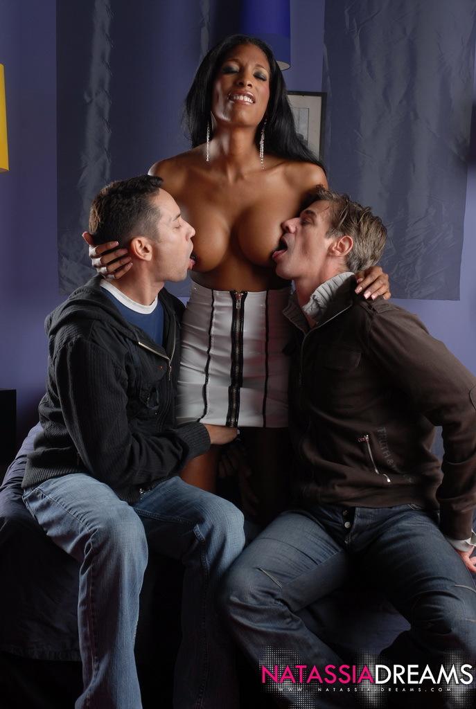 Ebony Sweetheart Natassia Fantasies In A Titillating Interracial Threes