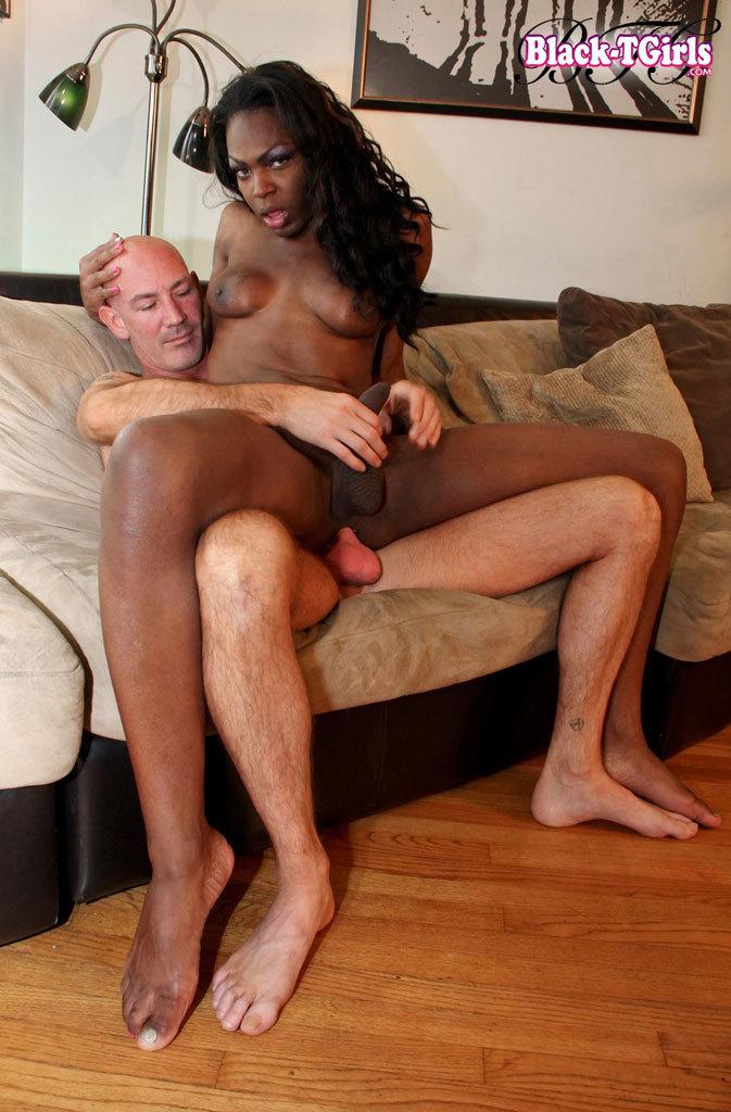 Filthy Ebony T-Girl Pounded