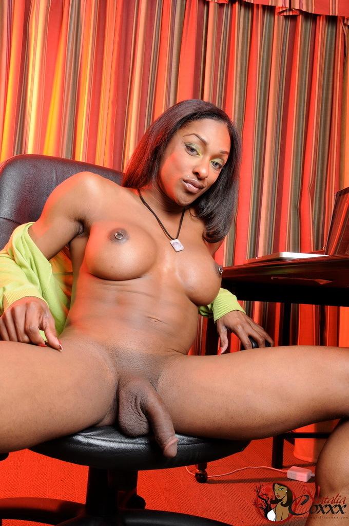 Kissable Ebony T-Girl Posing Her Meaty Penis