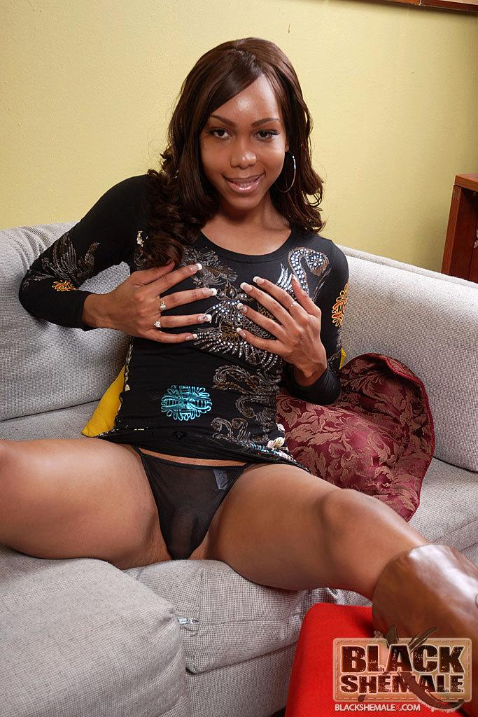 Massive Dick Black Tgirl Jade Stroke's Her Tool