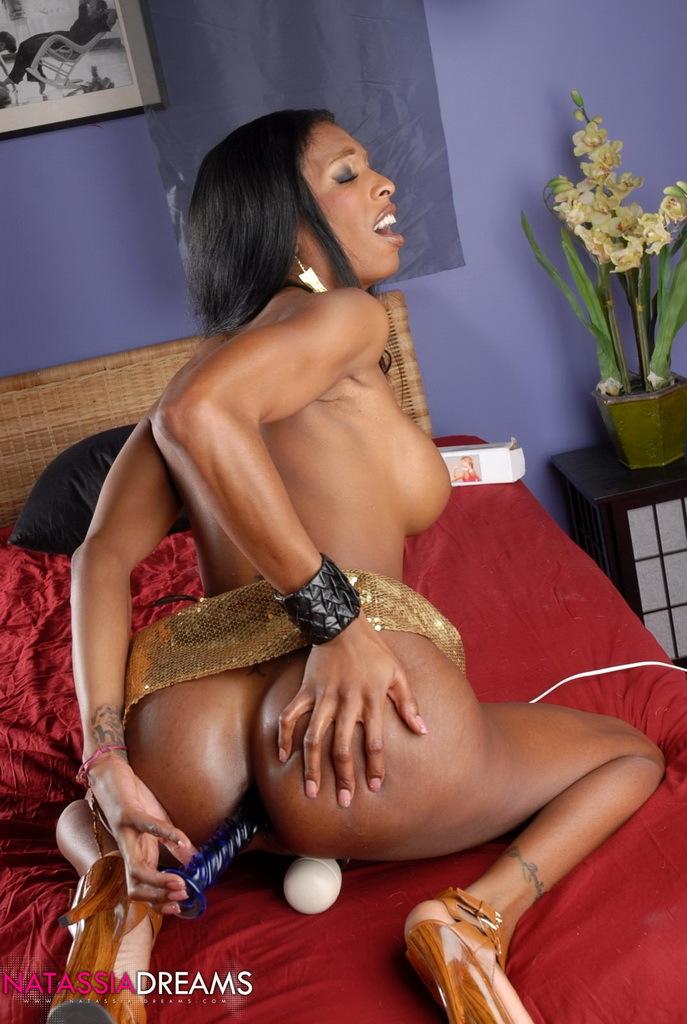 Nasty Ebony TS Toying Her Tight Wet Bum