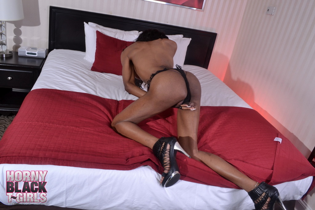 Sensuous Black Ts Petite Jade Stripping On Bed