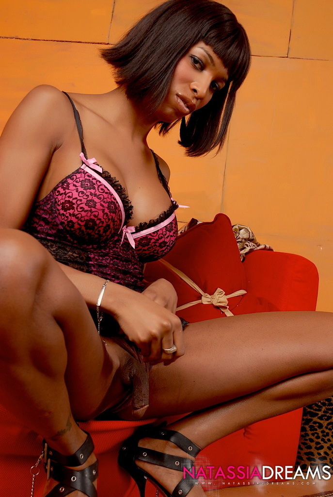 Starved Ebony Transsexual Posing In Horny Panties