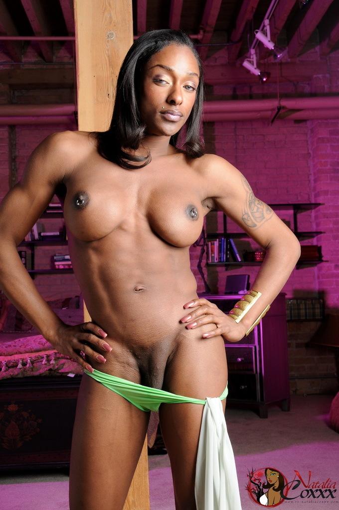 Super Titillating Ebony Transsexual Natalia Coxxx Posing