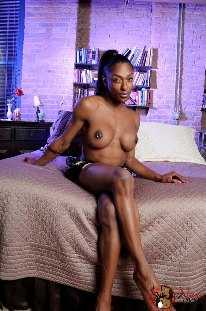 Transexual Natalia Coxxx Exposing Her Black Wonderful Body